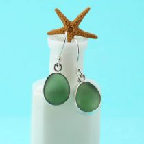 Terrific Teal Green Sea Glass Earrings Bezel Set