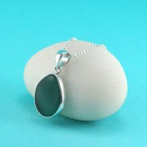 Sweet Teal Sea Glass Bezel Set Pendant