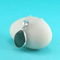 Sweet Teal Sea Glass Bezel Set Pendant