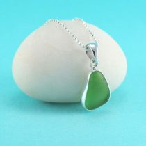 Lovely Lime Green Sea Glass Bezel Set Pendant