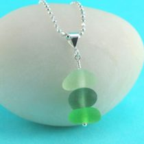 Green Shades Sea Glass Stack Pendant