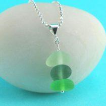 Green Shades Sea Glass Stack Pendant
