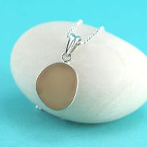 Peachy Pink Sea Glass Bezel Set Pendant