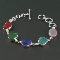Rainbow of Colorful Sea Glass Bracelet