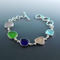 Five Color Sea Glass Bezel Set Bracelet