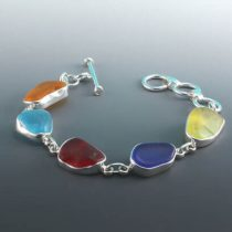 Rainbow of Colorful Sea Glass Bezel Set Bracelet