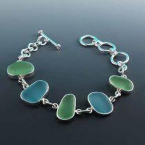 Watercolors Sea Glass Bezel Set Bracelet