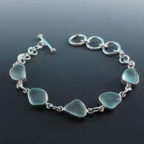 A+ Aqua Sea Glass Bezel Set Bracelet