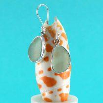Soft Seafoam Sea Glass Bezel Set Earrings