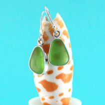 Lucky Lime Green Sea Glass Bezel Set Earrings