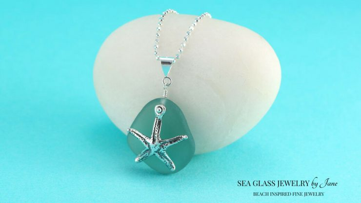Teal Sea Glass Pendant with Starfish Charm, Symbols of Renewal and Healing