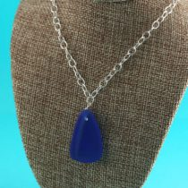 Cornflower Blue Sea Glass Noxzema Necklace