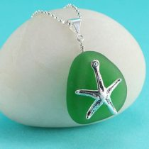 Bright Green Sea Glass Pendant with Starfish Charm