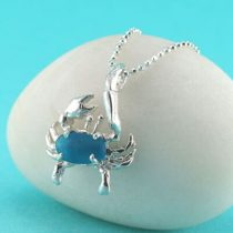 Small Turquoise Sea Glass Crab Pendant