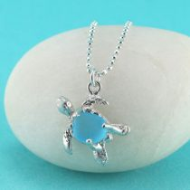 Turquoise Sea Glass Turtle Pendant