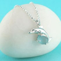 Aqua Sea Glass Dolphin Pendant