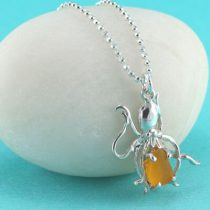 Bright Yellow Sea Glass Octopus Pendant