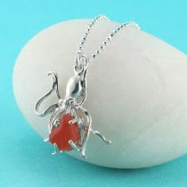 Bright Orange Sea Glass Octopus Pendant