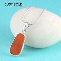 Bright Orange Sea Glass Bezel Set Pendant