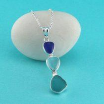 Three Marvelous Colors Sea Glass Pendant