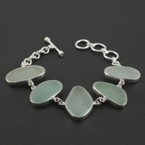 Stellar Sea Foam Sea Glass Bezel Set Bracelet