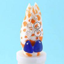 Charming Cobalt Blue Sea Glass Earrings