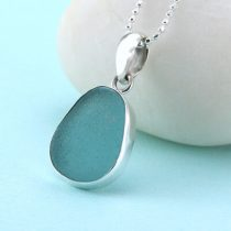 Ethereal Aqua Sea Glass Pendant