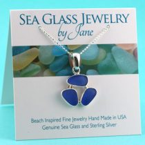 Cornflower Blue Triple Sea Glass Pendant
