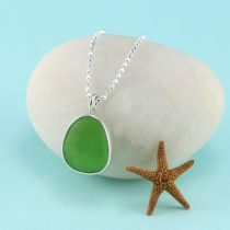 Small Lime Green Sea Glass Pendant