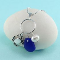 Cobalt Blue Sea Glass Pendant With Crab Charm