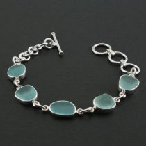 Deep Aqua Sea Glass Bracelet