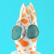 Deep Aqua Sea Glass Earrrings