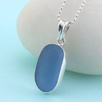 Sweet Cornflower Blue Sea Glass Pendant