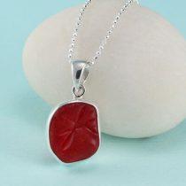 Bright Red Sea Glass Pendant