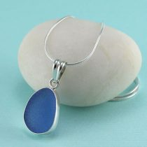 Sweet Cornflower Blue Sea Glass Pendant