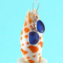 Sweet Cornflower Blue Sea Glass Earrings