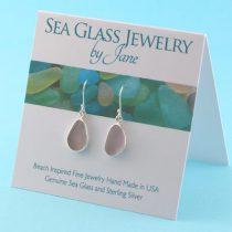 Deep Lavender Sea Glass Earrings