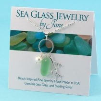 Peridot Sea Glass Pearl Pendant