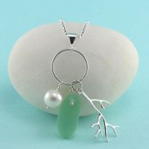 Peridot Sea Glass Pearl Pendant