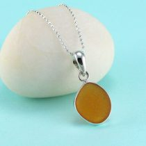 Amazing Amberina Sea Glass Pendant