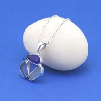 Two Blue Shades Triple Sea Glass Pendant