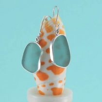 Large Aqua Sea Glass Earrings