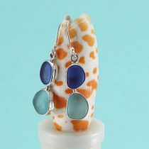 Cornflower & Aqua Sea Glass Earrings