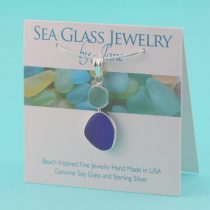 Cobalt Blue & Aqua Sea Glass Pendant