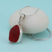 Red Chunky Sea Glass Pendant