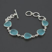 Dramatic Aqua Sea Glass Bracelet