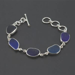 Shades of Blue Sea Glass Bracelet