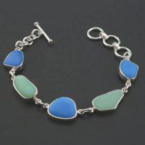 Rare Jadeite Azurite Sea Glass Bracelet