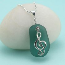 Music Lover Teal Sea Glass Pendant