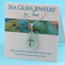 Soothing Sea Foam Sea Glass Pendant with Cross
